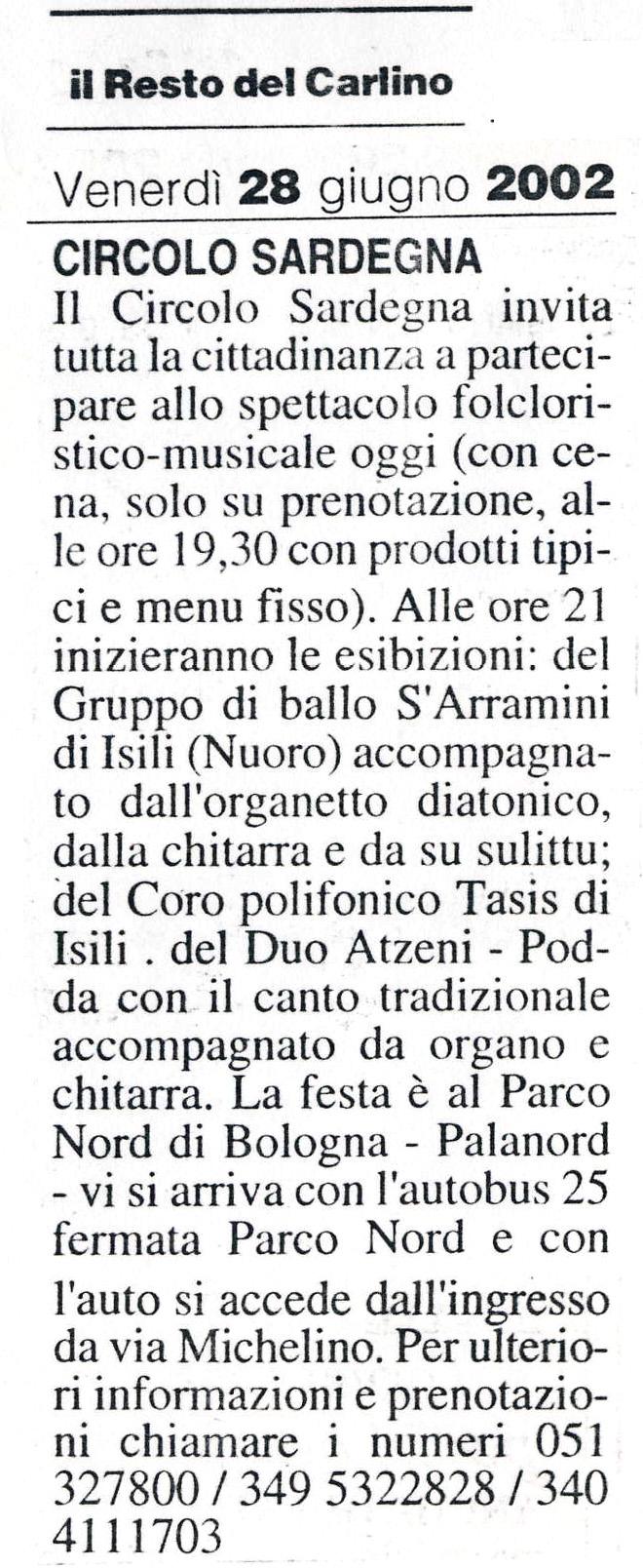 Il Resto del Carlino Bologna, 28 Giugno 2002