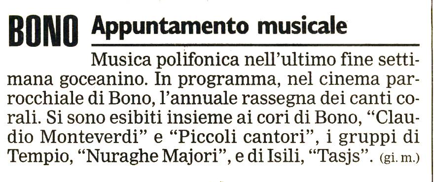 Unione Sarda Bono, 26 Ottobre 1998