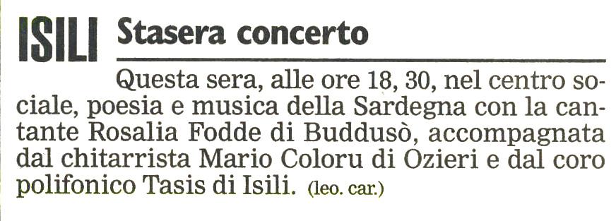 Unione Sarda Isili, 9 Maggio 1998